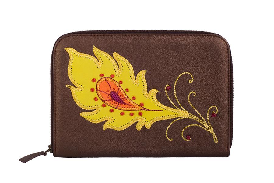 Кожаный кошелёк №2 перо жар птицы