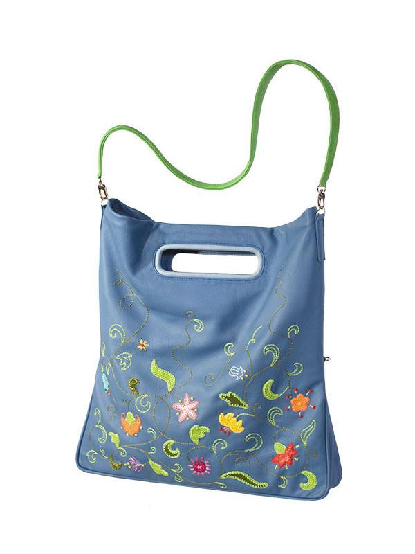 """Женская сумка """"Вальс цветов"""", голубая Женские сумки Unique U интернет магазин дизайнерских сумок BagsArt"""